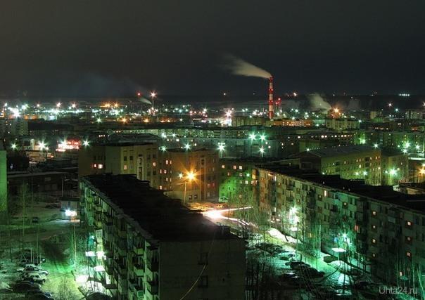 с крыши С ул. Интернациональной в сторону ул. Советской Улицы города Ухта