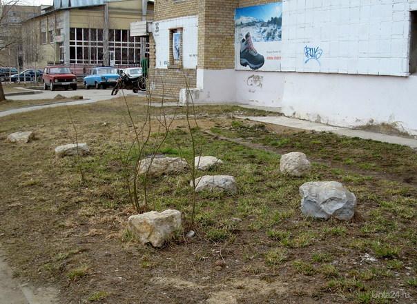 Сад камней. Японский, наверное, магазин (рядом). Улицы города Ухта