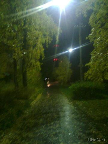 Осень.Советская,ливень ночью. Улицы города Ухта