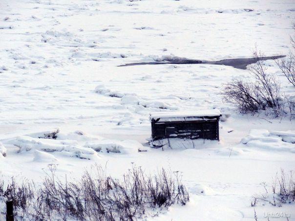 Ледовый затор на реке Ухта в районе Шудаяга.  Ухта