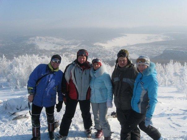 Спортсмены-горнолыжники на Губахе Спорт Ухта