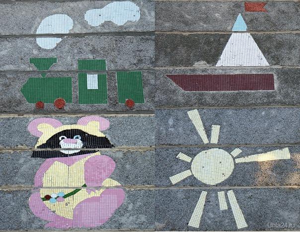Мозаика, выложенная на торцах панельных домов. Т.к. эти дома сдавались в начале 80-х, присутствует Олимпийский мишка. Разное Ухта