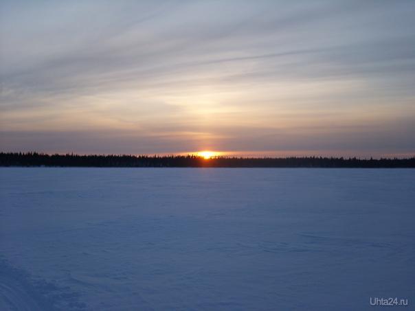 Закат но озере Природа Ухты и Коми Ухта