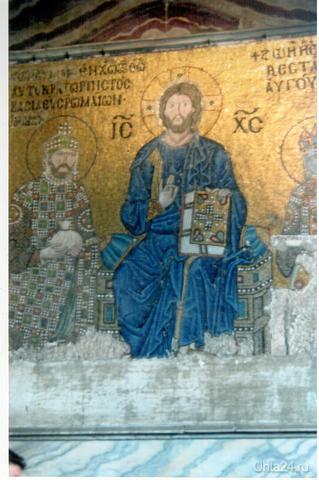 Мозаика.Император Константин Мономах и императрица Зоя перед Христом.Храм Святой Софии.Стамбул,до1453г был Константинополь.  Ухта