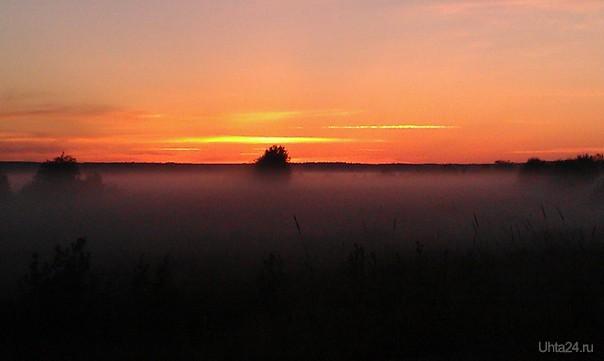 поле после заката Природа Ухты и Коми Ухта