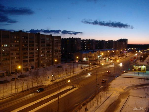 Апрельский закат. Улицы города Ухта
