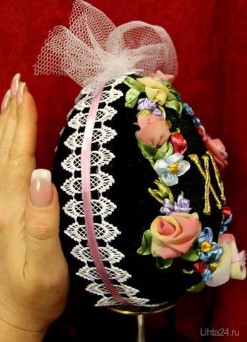 Пасхальные яйца своими руками из атласных лент