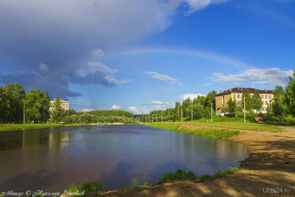 Цветное коромысло над рекой повисло © или мимолетный воздушный мостик над Чибью :)  Ухта