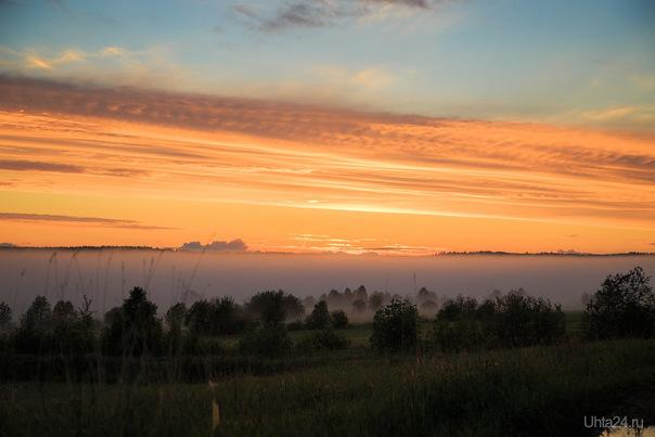 Туман после заката. Природа Ухты и Коми Ухта