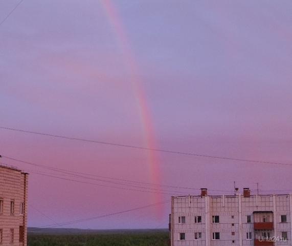 Тоже не могла пропустить такое красивое природное явление.Это было нечто-вечерняя радуга. Разное Ухта