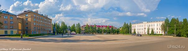 Свежая городская панорамка Первомайской площади 25 июня.  Ухта