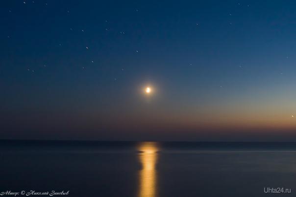 Вечернее море. Луна и звезды.  Ухта