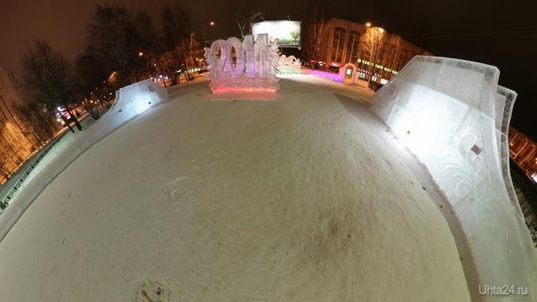 Ледяной городок 2014. Ссылка на панораму в комментариях. Улицы города Ухта