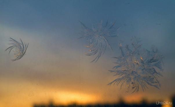 Снежинки на окне.  Ухта