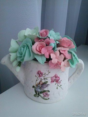 Лейка керамическая с цветами из японской полимерной глины. Группа http://vk.com/irinakozhevina Творчество, хобби Ухта