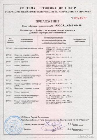 Приложение к сертификату АВТОЦЕНТР NEON Ухта