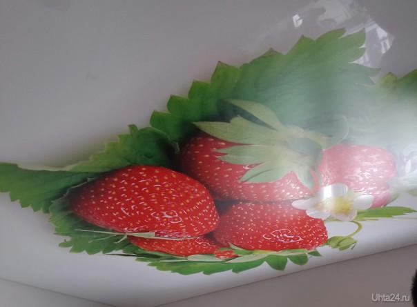 натяжной потолок на кухне с фотопечатью фото