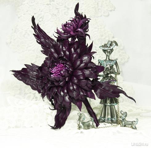 Брошь Георгин - осенний король... Материал - натуральная кожа Размеры: ширина -  12 - 13 см высота -   15-16 см  Ухта