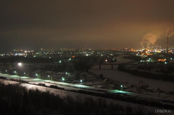 Вечерняя Ухта с горы Ленина  Ухта