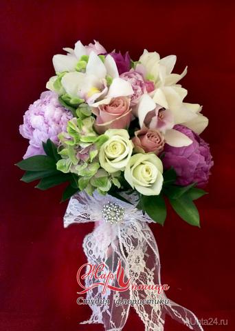 Букет невесты с пионами и орхидеями ЖАР ПТИЦА, ЦВЕТЫ Ухта