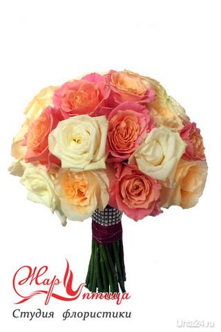 Классический букет невесты из роз ЖАР ПТИЦА, ЦВЕТЫ Ухта