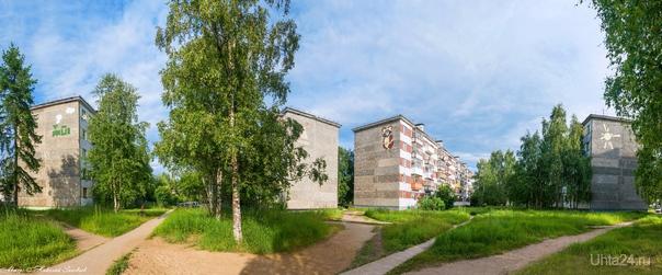 """Панорама: Чибьюский переулок, один из самых чистых и зеленых районов Ухты. Почти все деревья - наследие """"Кулацкого поселка"""".  Ухта"""