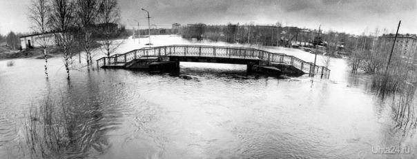 17 мая 1978 г, половодье на р. Чибью в парке КиО. Автор фото: Александр Степанович Мансуров (НЭП №45(298) от 5 декабря 2014 г.)  Ухта