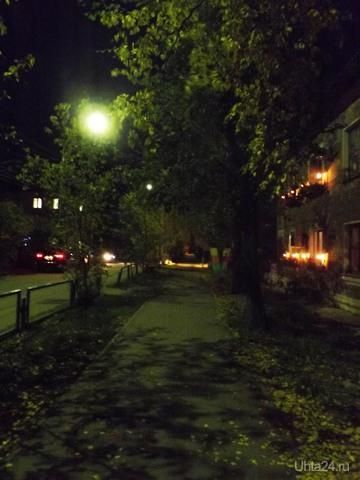 ночь, улица, фонарь  Ухта