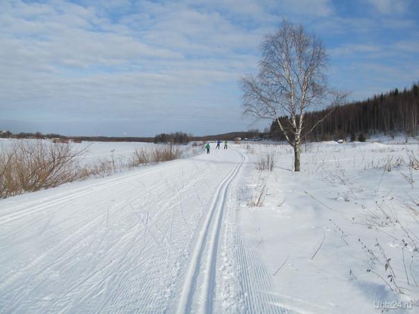 лыжня в шуда-яге,река ухта Природа Ухты и Коми Ухта