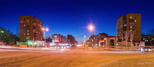 Панорама: Город зажигает огни, вечер на проспекте Ленина.  Ухта