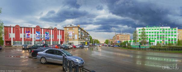 Панорама: Грозовой фронт на проспекте Ленина.  Ухта