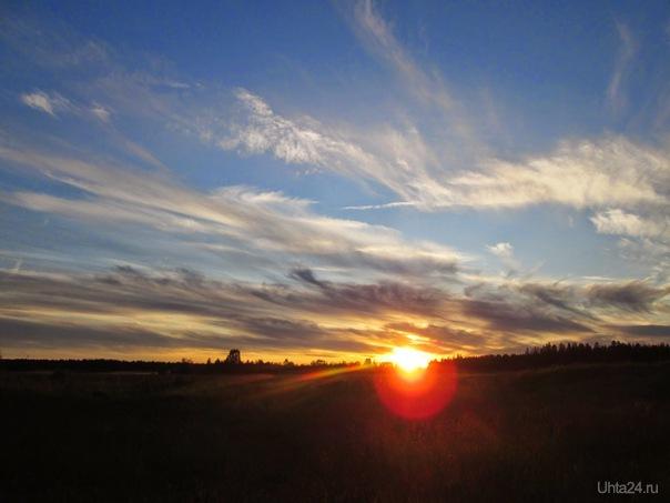 Солнце прячется за горизонт Природа Ухты и Коми Ухта