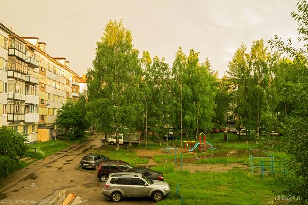После грозы всё вокруг стало такого жёлтого оттенка. Интересное явление, даже зелень по другому смотрелась :)  Ухта