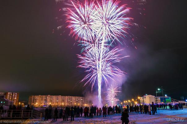 Салют в честь Нового Года! Улицы города Ухта