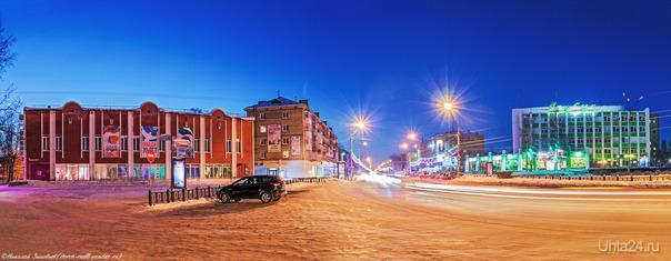 Зимний вечер на проспекте Ленина.  Ухта