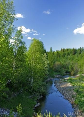 Река Луньвож летом. Снято за пос. Нижний Доманик. Природа Ухты и Коми Ухта