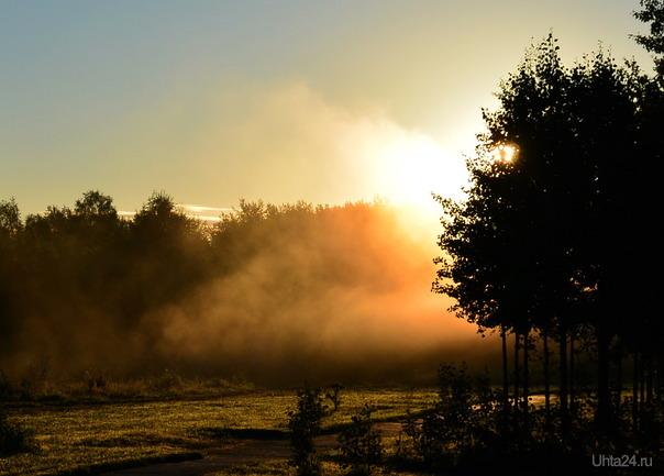 Утренний туман (холодное утро) Природа Ухты и Коми Ухта