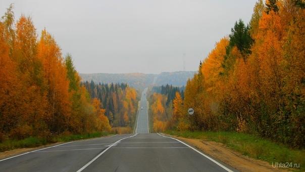 Осень на трассе Ухта - Сыктывкар На дороге Ухта