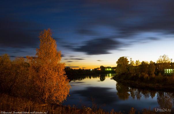 Осенний закат сегодня. Улицы города Ухта