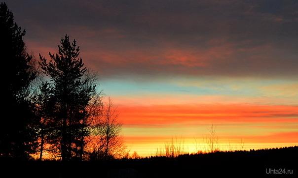 Восход солнца, краски просто завораживают Природа Ухты и Коми Ухта