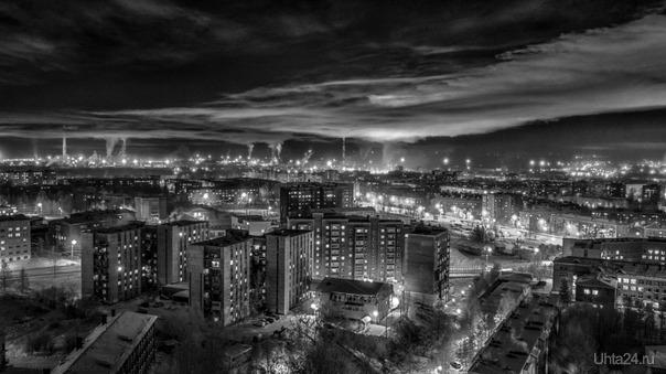 Морозный день, минус 30. Улицы города Ухта