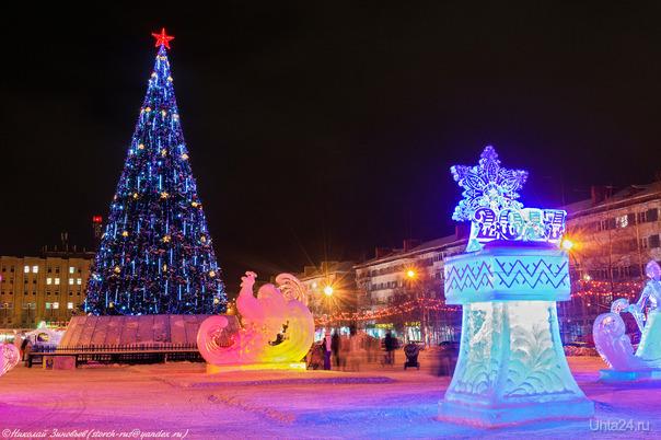 Комсомольская площадь в преддверии праздника...  Ухта