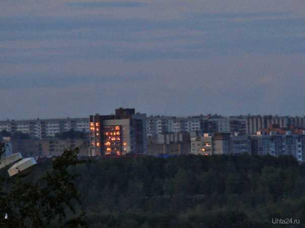 Белокаменная в лучах заката Улицы города Ухта