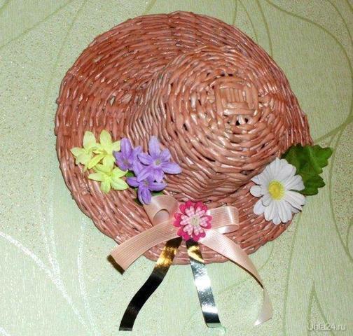 шляпка -панно из газетных трубочек Творчество, хобби Ухта
