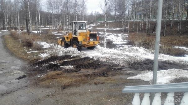 Для расчистки кучи снега, которая и так растает, трактор изуродовал газон в парке КИО. Происшествия Ухта