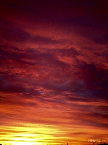 Сегодняшний зрелищный закат!) Природа Ухты и Коми Ухта