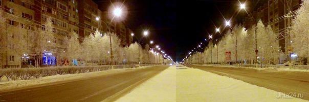 Город в вечерних красках зимы.  Ухта