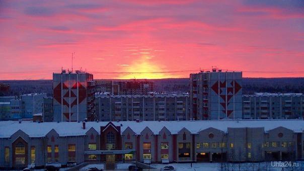 Ухта. Закат солнца 11.12.2017. Природа Ухты и Коми Ухта
