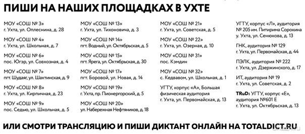 тотальный диктант  УХТА24, ПЕРВЫЙ СПРАВОЧНЫЙ ПОРТАЛ УХТЫ Ухта