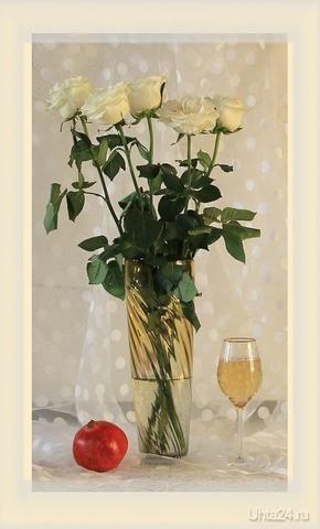 Натюрморт с белыми розами Разное Ухта